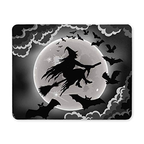 InterestPrint Witch Silhouette with Bats Funny Halloween Theme Rectangle Non-Slip Rubber Laptop Mousepad Mouse Pads/Mouse Mats Case Cover for Office Home Woman Man Employee Boss Work]()