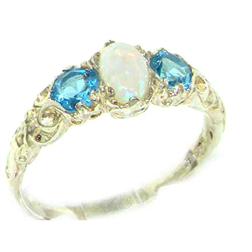 10k White Gold Natural Opal and Blue Topaz Womens Trilogy Ring - Sizes 4 to 12 (White Gold Trilogy Ring)