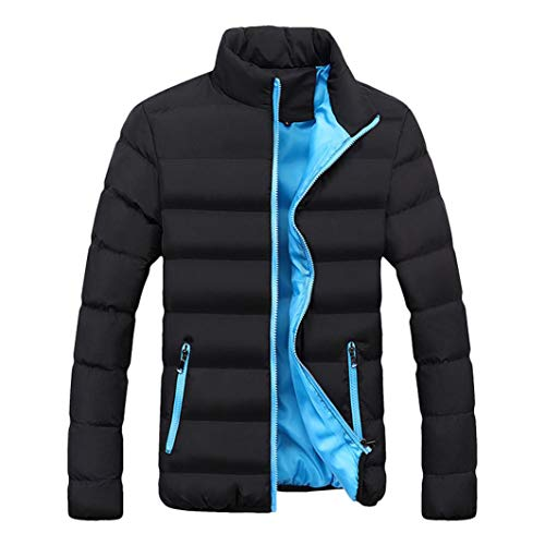 HTHJSCO Men's Packable Down Puffer Jacket, Men's Lightweight Stand Collar Packable Down Jacket (Blue, XXL) -