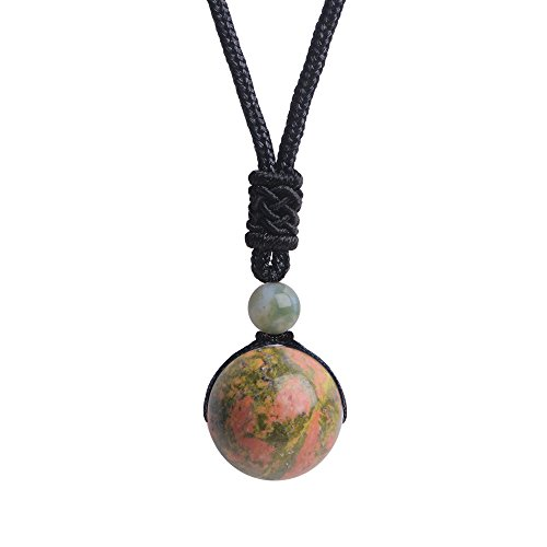 iSTONE Unisex Genuine Round Gemstone Beads Pendant Necklace Black Rope Chain 25 inch (Unakite)