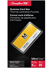 Swingline GBC UltraClear Thermal Laminating Pouches, Business Card Size, 5 Mil, 25 Pack (6447402040)