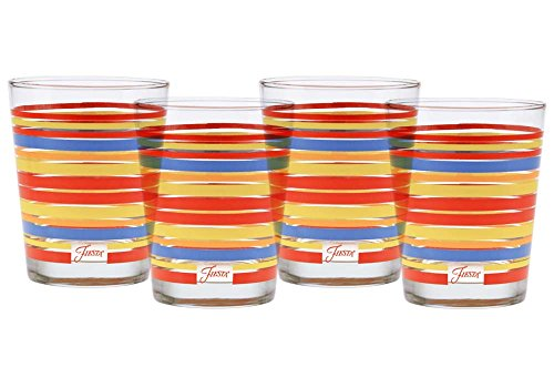 Fiesta Scarlet Stripe 14-Ounce Tapered DOF Double Old Fashioned Glass (Set of 4)
