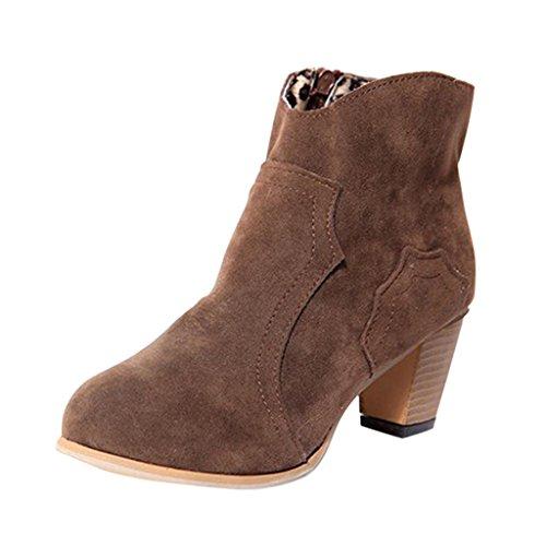 Hee Stora Kvinnor Mode Elegaant Sida Zip Tjock Klack Boots Brown