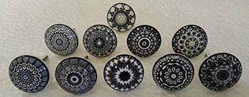 Ceramic Vintage Porcelain (Set of 10 Black Ceramic Porcelain Pottery Cabinet knob Drawer pulls Furniture Handles Shabby Chic Vintage JGARTS)