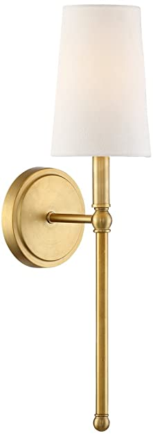 Greta 21u0026quot; HIgh Warm Brass Wall Sconce With Linen Shade