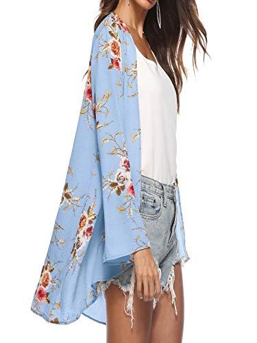 Kimono Cardigan for Women Long Sleeve Loose Floral Tops Casual Blouse Cover Ups Half Sleeve Chiffon Shawl Blue