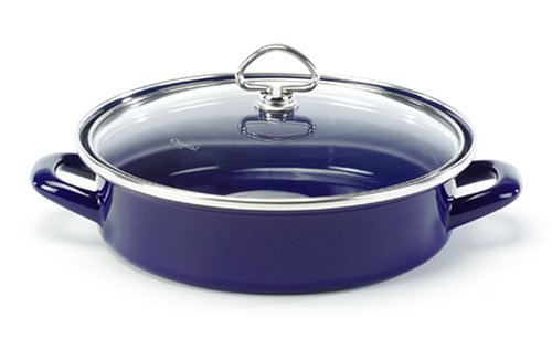 Chantal Enamel-On-Steel 3 Quart Saute & Serve with Tempered Glass Lid, Cobalt Blue
