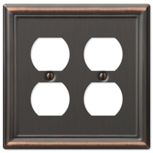 ch Outlet Cover Plates (Oil Rubbed Bronze, Double Duplex) (Combo Duplex Outlet Double Toggle)