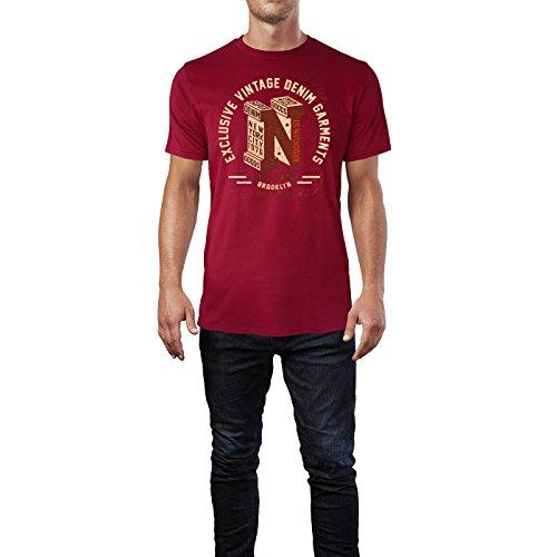 Sinus Art ® Herren T Shirt Exclusive Vintage Denim ( Independence_Red ) Crewneck Tee with Frontartwork
