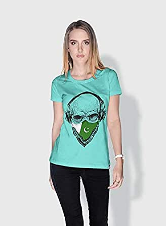 Creo Pakistan Skull T-Shirts For Women - M, Green