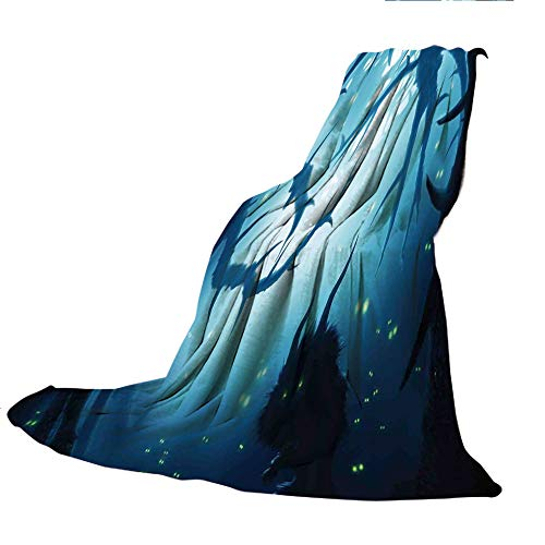 SCOCICI Blanket for Bed Couch Chair Fall Winter Spring Living Room,Mystic House Decor,Animal with Burning Eyes in Dark Forest at Night Horror Halloween Illustration,Navy White,59.06