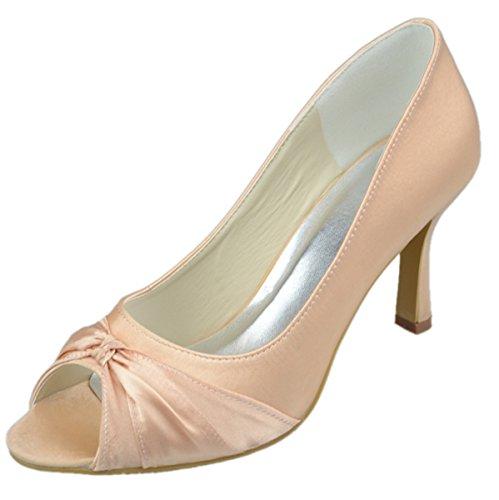 Minitoo Gyayl002 Des Femmes De Haut Talon Stiletto Bout Ouvert Soirée Satin Bowknot De Mariée Mariage Chaussures Sandales Champagne