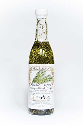 Rosemary Oregano Infused Olive Oil - 12 oz bottle. The Only Infused Oil With Both Rosemary and Oregano on Amazon. GMO free, Gluten Free, Vegan - Made With Love From Our Family to Yours