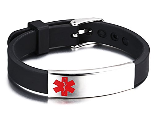 Medical Id Band (JF.JEWELRY Medical Alert ID Bracelet for Kids Medical Silicone Band Link Free Engraving,5.9-7.9 inch)
