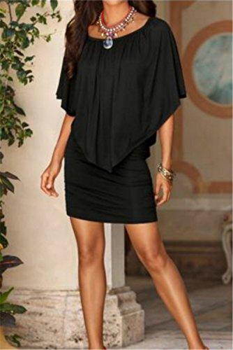 YOGLY Mujer Vestido Mini Elegante Floral Casual Playa Verano Vestido Estampado sin Mangas Negro