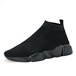 Wxq Women S Athletic Walking Shoes Lightweight Fashion Sneakers Breathable Flyknit Running Shoes Allblack 36