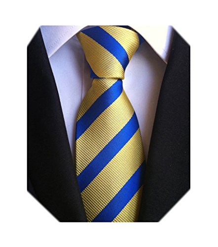 Blue Stripe Silk Tie (Secdtie Men's Classic Stripe Jacquard Woven Silk Tie Formal Party Suit Necktie (One Size, Blue Yellow))