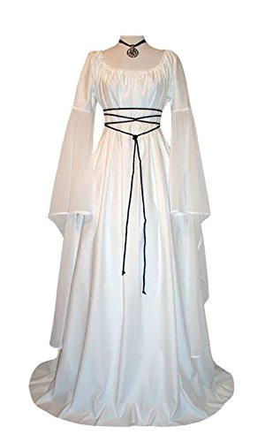 Makkrom Women's Renaissance Medieval Irish Gothic Victorian Dress Costume (X-Large, White) - Plus Size White Queen Halloween Costume