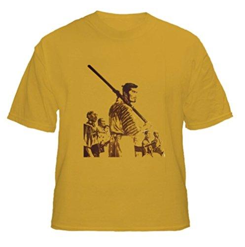 [AlStyle Men's Seven Samurai Akira Kurosawa Japanese T-Shirt Large Gold] (Japanese Beard)