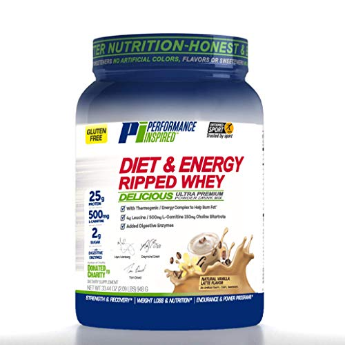 Performance Inspired Nutrition Diet & Energy Ripped Whey Protein, Vanilla Latte, 2.09 Lb Style #: Rwvl