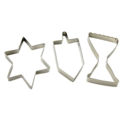 Hanukkah Cookie Cutter Set - 3 Pieces - Menorah, Dreidel and Magen David Star of David Shaped Plastic Cutters - Chanukah Cookware and Bakeware by The Kosher Cook ()