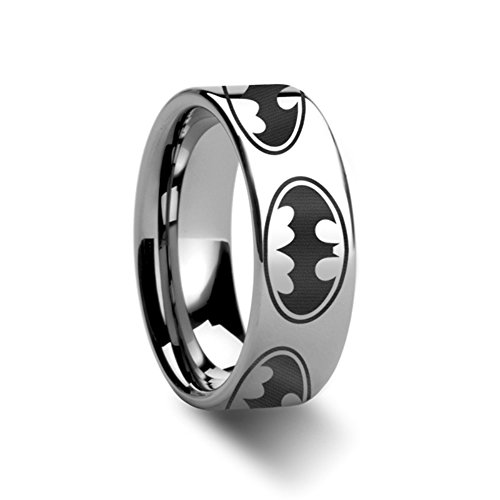 Batman Dark Knight Super Hero Polished Tungsten Engraved Ring Jewelery - 8mm (10.0) ()