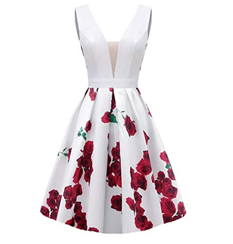 (Dydsz Short Prom Party Dresses for Women Junior with Pockets Print Floral Homecoming Dress Whitered-Short 2 )