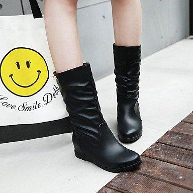 RTRY Zapatos De Mujer Polipiel Otoño Invierno Moda Botas Botas De Tacón Cuña Round Toe Botines/Botines Hebilla Para Vestimenta Casual Negro Marrón US6 / EU36 / UK4 / CN36