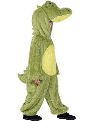 [Smiffy's Children's Unisex All In One Crocodile Costume, Jumpsuit with Hood, Party Animals, Ages 7-9, Color: Green and Yellow,] (Size 28 Costumes)