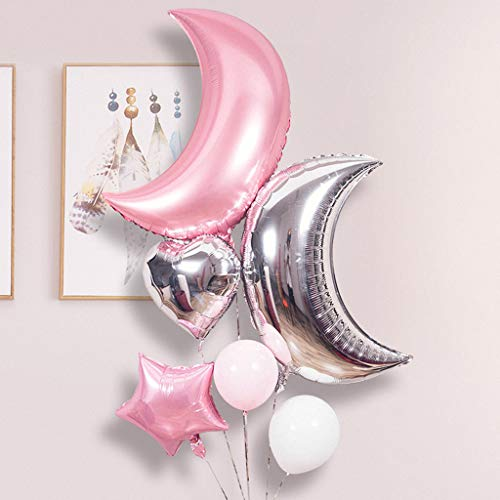 (36inch Foil Moon Balloons Set,Kicpot Pink Sliver Moon Heart and Star Shaped in Different Size Balloon Perfect for Birthday Party Baby Shower Decoration)