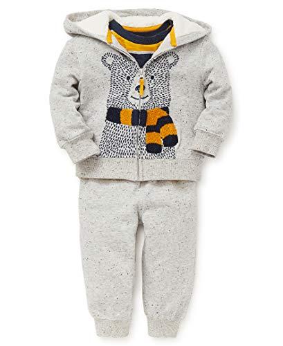 Little Me Baby Boy's Jogger Set Sweater, bear flecked heather grey, 18 Months