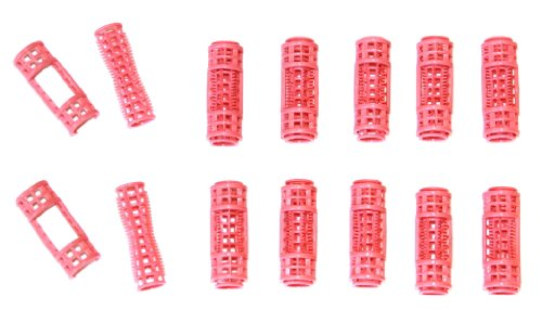 12pc Small Mini Tiny Snap On (Clip-On) Hair Rollers PINK