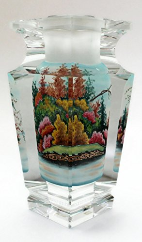 Autumn Fall Leaves Hand-Painted Crystal Flower Vase - 6.5