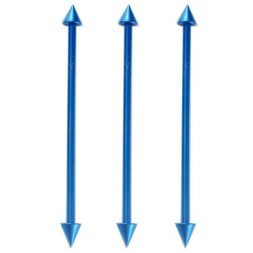3 pcs piercing industriel oreilles bijouterie grossiste bleu foncé Anodisé 1,2x32mm FHJS