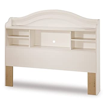 South Shore Summer Breeze Bookcase Headboard with Storage, Full 54-inch, White Wash
