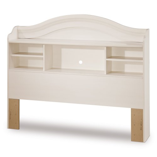 (South Shore Summer Breeze Bookcase Headboard with Storage, Full 54-inch, White Wash)