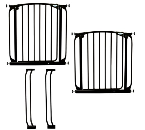 Dreambaby Chelsea Auto Close Security Gate in Black Value Pack (Includes 2 Gates and 2 Extensions) by Dreambaby