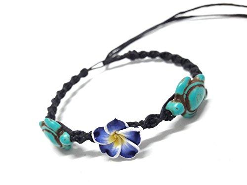 p Bracelet or Anklet - Frangipani Flowers Hawaiian Style Bracelet - Adjustable Cord (Ecolution Hemp Fabric)
