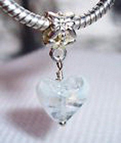 Glamorise Beads #14038 White Clear Murano Glass Heart Dangle Bead fits Silver European Charm Bracelets ()