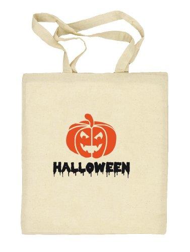 Shirtstreet24, Halloween - Kürbis, Kostüm Stoffbeutel Jute Tasche Natur