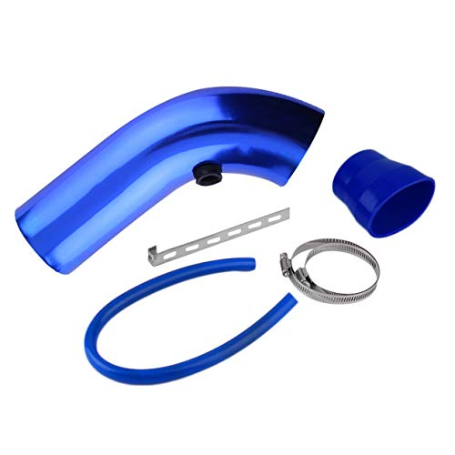 4 Pieces/Set Aluminum Universal Vehicle SUV Truck Car Air Intake Tube Pipe Air-Intake Duct Hose Solid Color 76mm-blue: