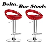 Delta Modern Style ABS Adjustable Swivel Bar Stools - (Set of 2) (Red)