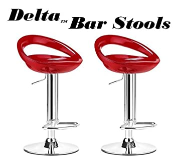Delta Modern Style ABS Adjustable Swivel Bar Stools   Red (Set Of 2)
