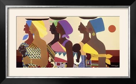 Honeywood Finish (ArtEdge African Women by Varnette Honeywood, Size 39W x 24H, Frame is Wood with a Foil finish)