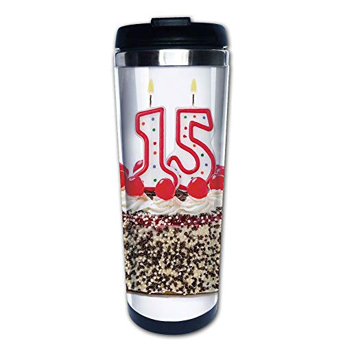 Stainless Steel Insulated Coffee Travel Mug,Chocolate Cherry Cake with Number Candles Surpise,Spill Proof Flip Lid Insulated Coffee cup Keeps Hot or Cold 13.6oz(400 ml) Customizable printing