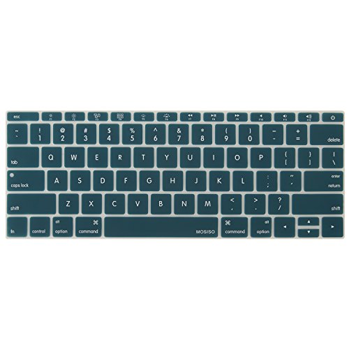 MOSISO Silicone Keyboard Cover Compatible MacBook Pro 13 Inch 2017 & 2016 Release A1708 Without Touch Bar, MacBook 12 Inch A1534 Protective Skin, Deep Teal