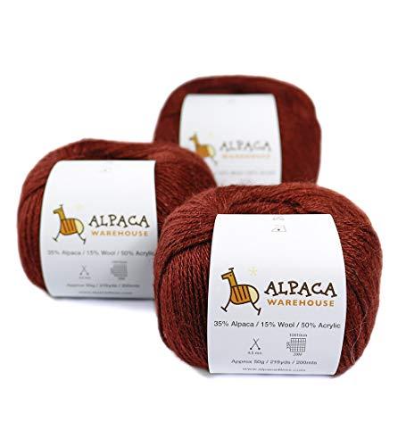 Blend Alpaca Yarn Wool Set of 3 Skeins Fingering Weight ()