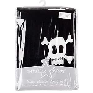 Metallic Cowboy King Single Bed Sheet Set Boy Skull Design