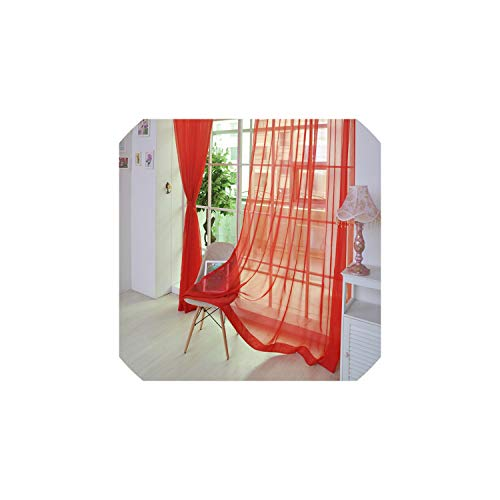 Sweetest-Thing 1PCS Window Blinds Tulle Door Window Curtain Drape Panel Sheer Scarf Valances Blinds Shades Shutters Window,Red,China,200 100
