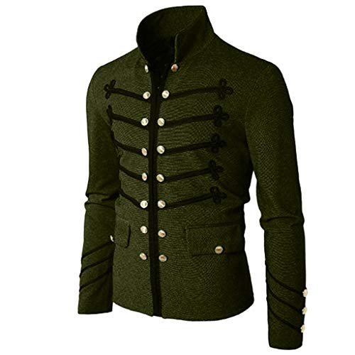 Men Gothic Vintage Jacket Double Breasted Formal Gothic Victorian Coat Costume (XXXL, Army Green)